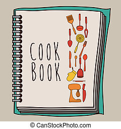 Cook book design over beige background ,vector illustration