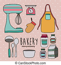 Kitchen supplies design over pink background, vector...