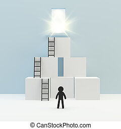 Person with ladder lean box on blue wall and white floor, 3d...