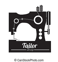 Tailor shop design over white background, vector...