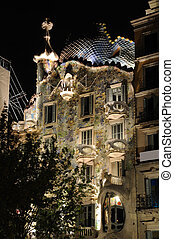 Casa Batllo illuminated at night, Barcelona Spain