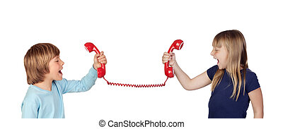 Two children fighting over phone isolated on white...