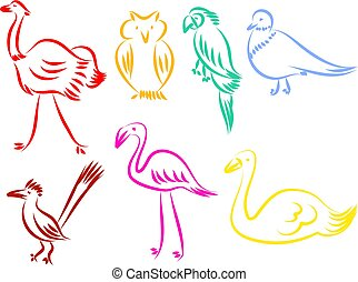 bird icons - A set of colourful bird line icons isolated on...