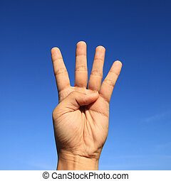 hand sign - counting hand sign with blue sky