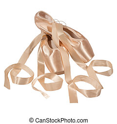 Pointe shoes isolated white background
