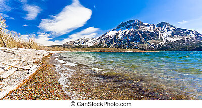Shore of Waterton Lake, National Park