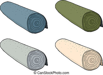 Isolated Rolls of Carpet - Set of different colored rolls of...