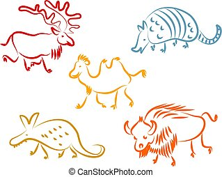 animal icons - A set of colourful animal line icons isolated...