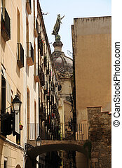 Narrow street in Barri Gotic, Barcelona Spain