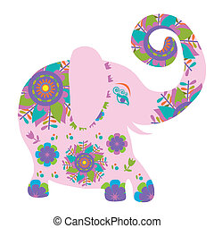 Cartoon bright pink elephant with flower, vector...