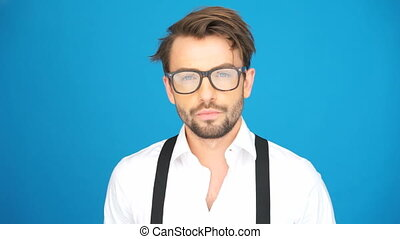 handsome guy wearing glasses - handsome guy with a beard and...