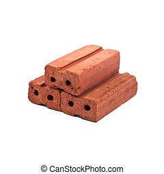 brick - red brick isolated on white background