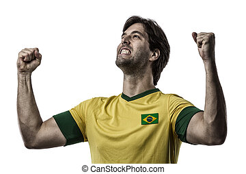 Brazilian soccer player, celebrating on a white background