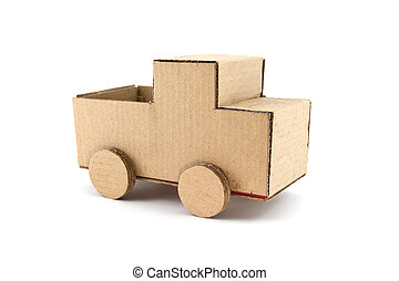 truck model made from Corrugated paper isolated on white...