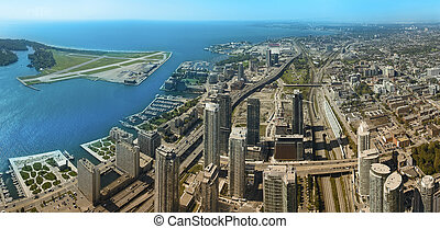 toronto aerial panoramic photo, urban scene