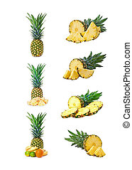 Set of pineapple fruits with cut.