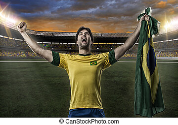 Brazilian soccer player, celebrating with the fans, on a...