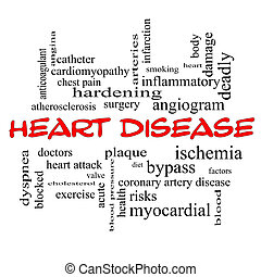 Heart Disease Word Cloud Concept in red caps with great...