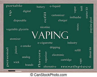 Vaping Word Cloud Concept on a Blackboard with great terms...