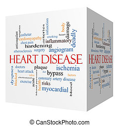 Heart Disease 3D cube Word Cloud Concept with great terms...