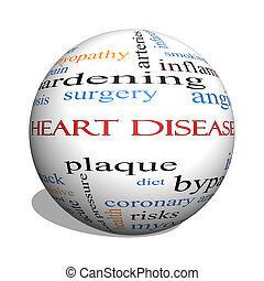 Heart Disease 3D sphere Word Cloud Concept with great terms...