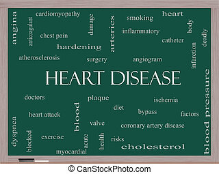 Heart Disease Word Cloud Concept on a Blackboard with great...