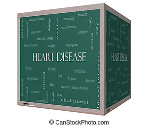 Heart Disease Word Cloud Concept on a 3D cube Blackboard...