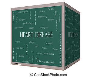 Heart Disease Word Cloud Concept on a 3D cube Blackboard...