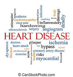 corazón, concepto, palabra, enfermedad, nube