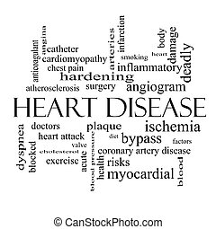 Heart Disease Word Cloud Concept in black and white with...