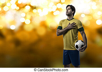 Brazilian soccer player, celebrating on a Yellow lights...