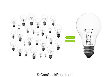 light bulb brainstorming - Many small light bulbs together,...