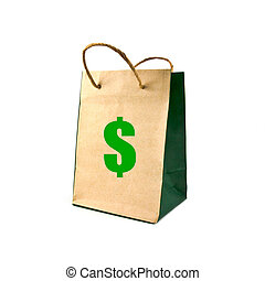 paper bag isolated on white background, economy concept