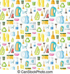 Cleaning icon seamless pattern - Cleaning washing housework...