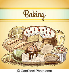 Baking pastry background template