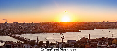 Panorama in Istanbul ay sunset - Panorama of Golden Horn...