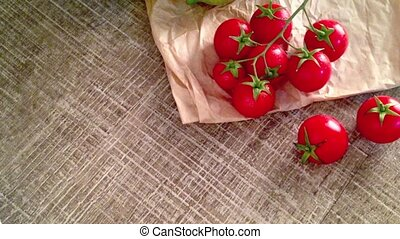 Bunch of wet tomatoes - Closeup of bunch of wet tomatoes and...