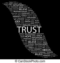 TRUST Background concept wordcloud illustration Print...