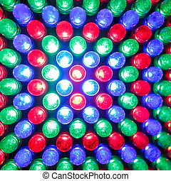 LED light bulb close up - Red Green Blue RGB LED light bulb...