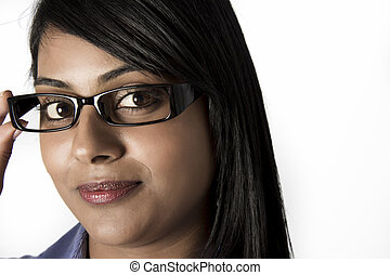 Indian Woman with brown eyes frames glasses