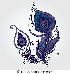Beautiful peacock feather. Hand Drawn vector illustration