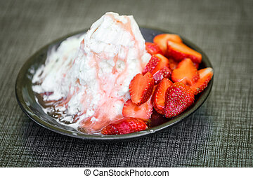 Pieces of strawberry and iceflake - Pieces of strawberry and...