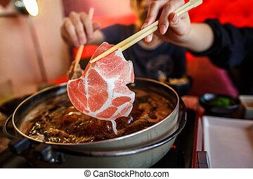 Japanese shabu with chopstick - Japanese shabu hot pot style...