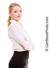 Portrait of professional businesswoman. Elegant young woman blond girl isolated on white. Business. Studio shot.