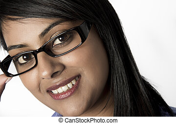 Woman Wearing frames glasses with a smile