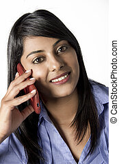 Beautiful Indian Woman chatting on her cellphone - Pretty...