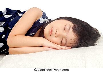 Girl sleeping on white background