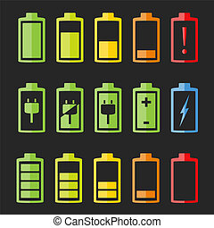 Battery Icons - Set of battery indicators on dark...