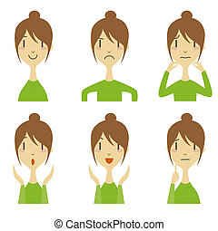 woman with different emotion - woman expressing different...