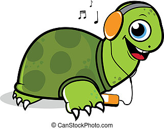Turtle listening to music on his mp 3 player
